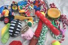 LARGE CHRISTMAS DOG TOYS SQUEAKY CHEW ROPE BALL RUBBER LARGE TOYS X 10 DOG TOYS